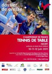 Le dossier de presse du Championnat de France de Tennis de Table.