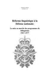 Reforme linguistique a la Defense nationale - Chef - Personnel ...
