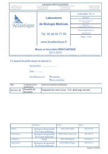 Manuel de prélèvements - BioAtlantique