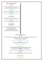 Les menus - La Table du Marais grolejac
