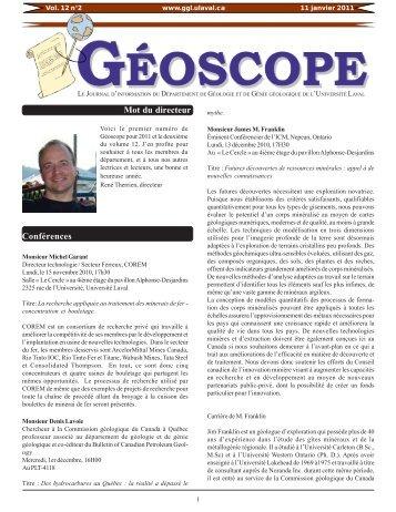 Vol. 12 no. 2 - Janvier 2011 - Département de géologie et de génie ...