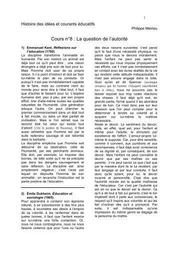Cours n°8 : La question de l'autorité - Site de Philippe Meirieu