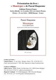 Présentation du livre : « Monotypes » de Pascal Duquenne - ART 21