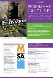 Agenda culturel avril-mai 2013 - Ville de Malakoff