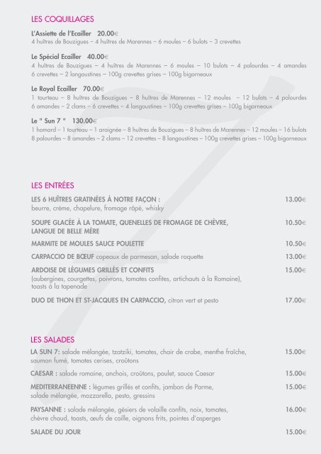 carte du restaurant - Sun7 Beach