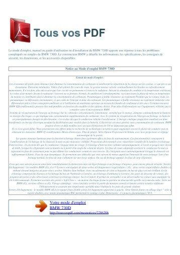 Mode d'emploi BMW 730D - TOUS VOS PDF: Manuel d'utilisation