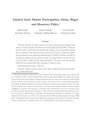 Limited Asset Market Participation, Sticky Wages and ... - Economia