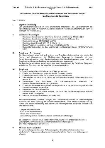 Richtlinien für den Brandsicherheitsdienst der ... - Burghaun