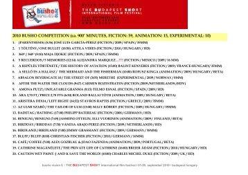 2010 BUSHO COMPETITION (ca. 900' MINUTES, FICTION: 59 ...