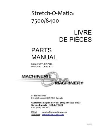 Stretch-O-Matic® 7500/8400 LIVRE DE PIÈCES PARTS MANUAL