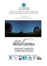 offre culturelle secondaire 2013/2014 - (CPIE) Littoral basque