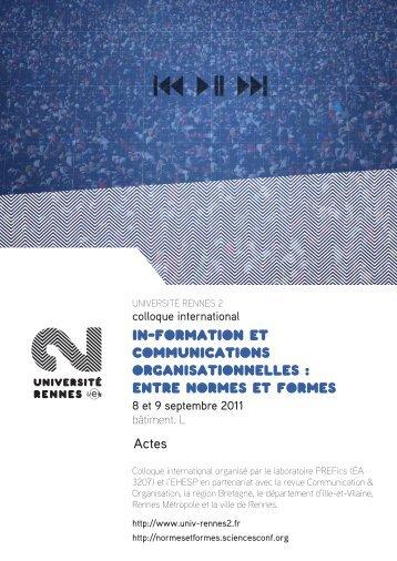 In-formation et communications organisationNelles : Entre ... - PREFics