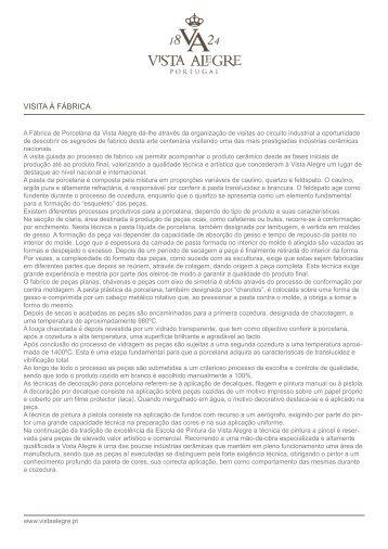 VISITA À FÁBRICA - Vista Alegre