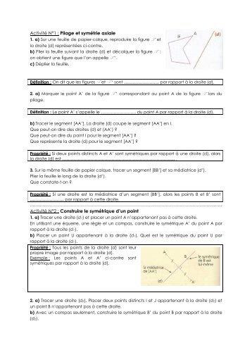 Activité N°1 : Pliage et symétrie axiale Activité N°2 ... - Unblog