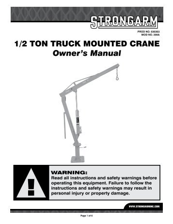 1/2 TON TRUCK MOUNTED CRANE Owner's Manual - Strongarm Inc.