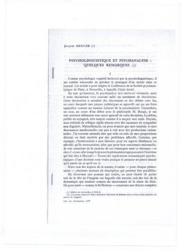 (i) psycholinguistique et psychanalyse - sissa