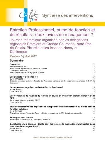 Synthèse des interventions Entretien Professionnel, prime de ...