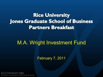 M.A. Wright Investment Fund