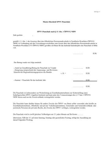Anlagen zu VV-ÖPNVG NRW - Busse & Bahnen NRW