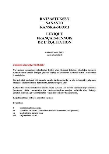 RATSASTUKSEN SANASTO RANSKA-SUOMI LEXIQUE ...