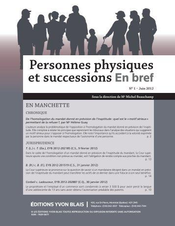 Personnes physiques et successions En bref - Éditions Yvon Blais