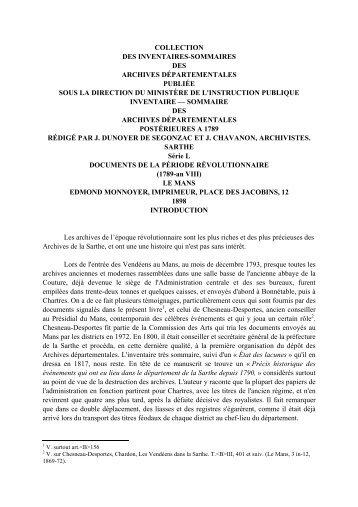 collection des inventaires-sommaires des archives départementales ...