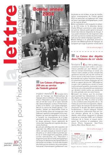 la lettre - L'Association pour l'Histoire du Groupe Caisse d'Epargne ...