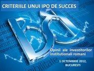 Opinia investitorilor institutionali romani privind criteriile unui IPO de ...