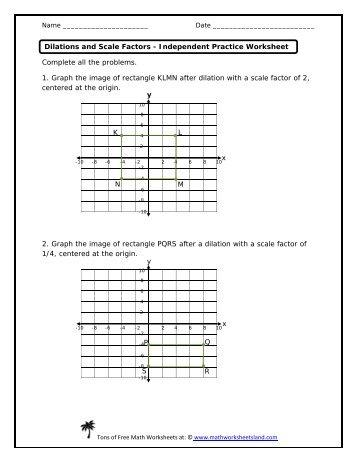 Dilations worksheet math drills