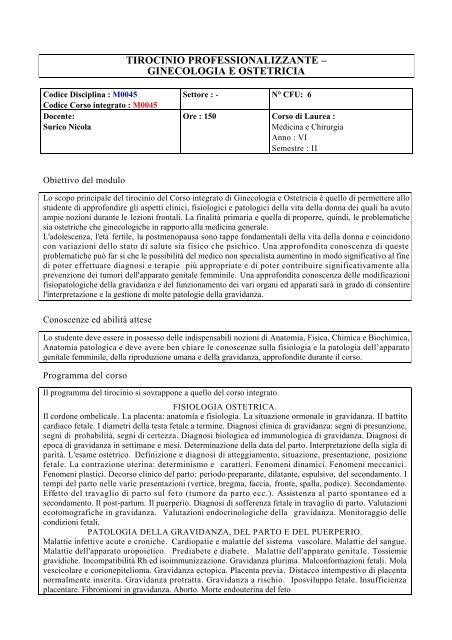 Tirocinio Ginecologia.pdf - Scuola di Medicina
