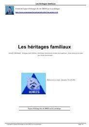 Les héritages familiaux - Systémiques