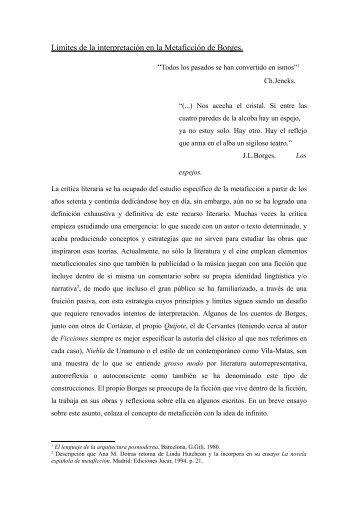Límites de la interpretación en la Metaficción de Borges. - Hermeneia