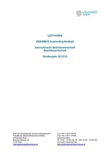 LEITFADEN ERASMUS Auslandsaufenthalt Internationale ...