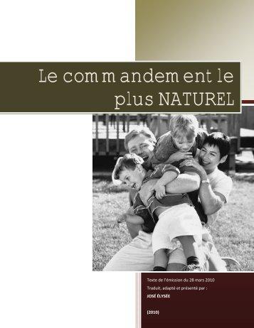 Le commandement le plus NATUREL - Le site de Richard Lemay