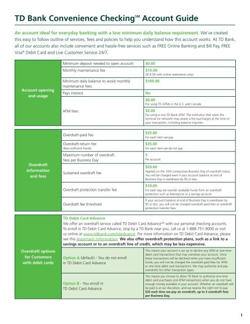 TD Bank Convenience CheckingSM Account Guide