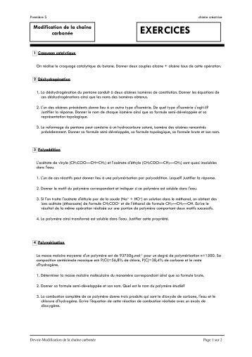 Exercices sur modification de la chaîne carbonée