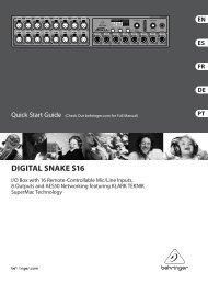 DIGITAL SNAKE S16 Controls - Behringer
