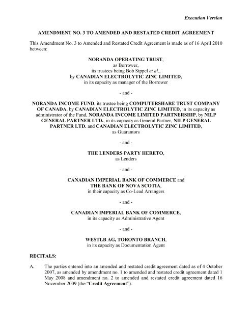 Execution Version AMENDMENT NO  3 TO AMENDED AND