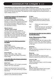 ADDENDUM FOR G•MAJOR V. 1.11 - zZounds.com