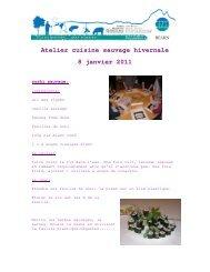 Atelier cuisine sauvage hivernale 8 janvier 2011