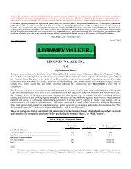 LEGUMEX WALKER INC. - Canadian Stocks
