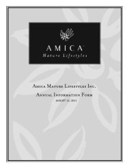 Amica Mature Lifestyles Inc. Annual Information Form