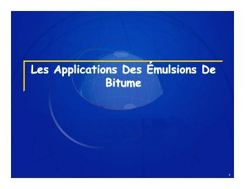 Émulsions de bitume - applications