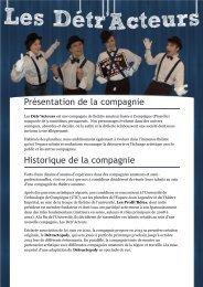 plaquette de présentation de la troupe - Les Détr'Acteurs, troupe de ...