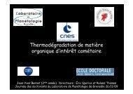 Thermodégradation de matière g organique d'intérêt cométaire