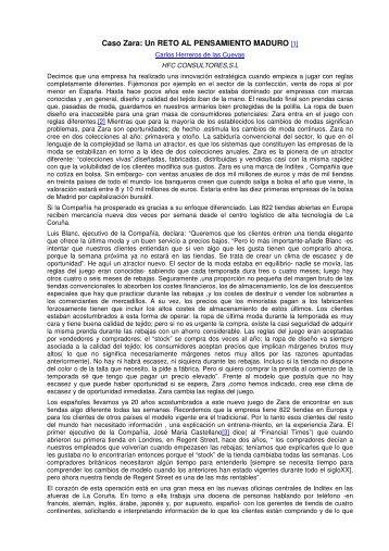 Caso Zara: Un RETO AL PENSAMIENTO MADURO [1]