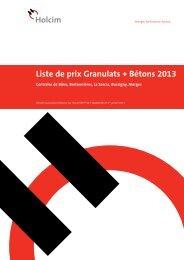Liste de prix Granulats + Bétons 2013 - Holcim