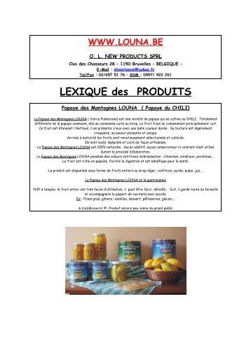 LEXIQUE des PRODUITS - LOUNA.BE