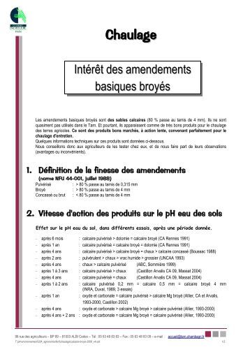 Chaulage magazines for Chambre d agriculture 34