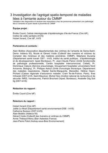 3 Investigation de l'agrégat spatio-temporel de maladies liées à l ...